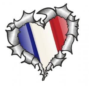 Ripped Torn Metal Heart with Waving France French Country Flag Motif External Car Sticker 105x100mm
